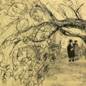 Hasidic Couple under Cherries 15 x 22 2016