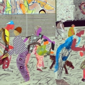 "Street Activity 22"" x 30"" Collage 2017"