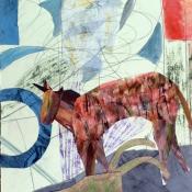 "Toy Horse and Wheelbarrow thru Window 22"" x 15"""