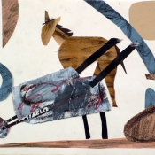 "Wheelbarrow and Horse on Dashboard 9"" x 12"""